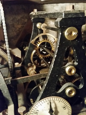 Part of the clock movement including the escapement